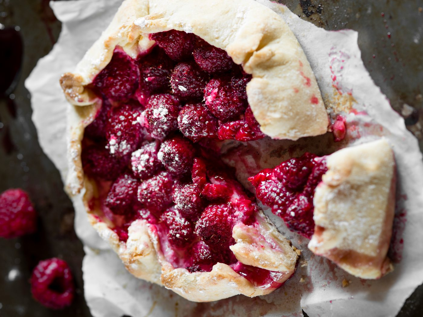 Autumn dessert raspberry galette with cream cheese